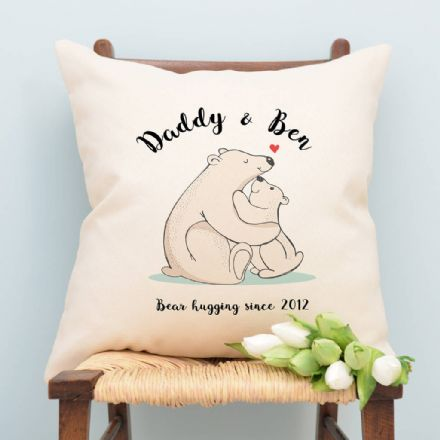 Personalised Bear Daddy And Bear Cub Cushion